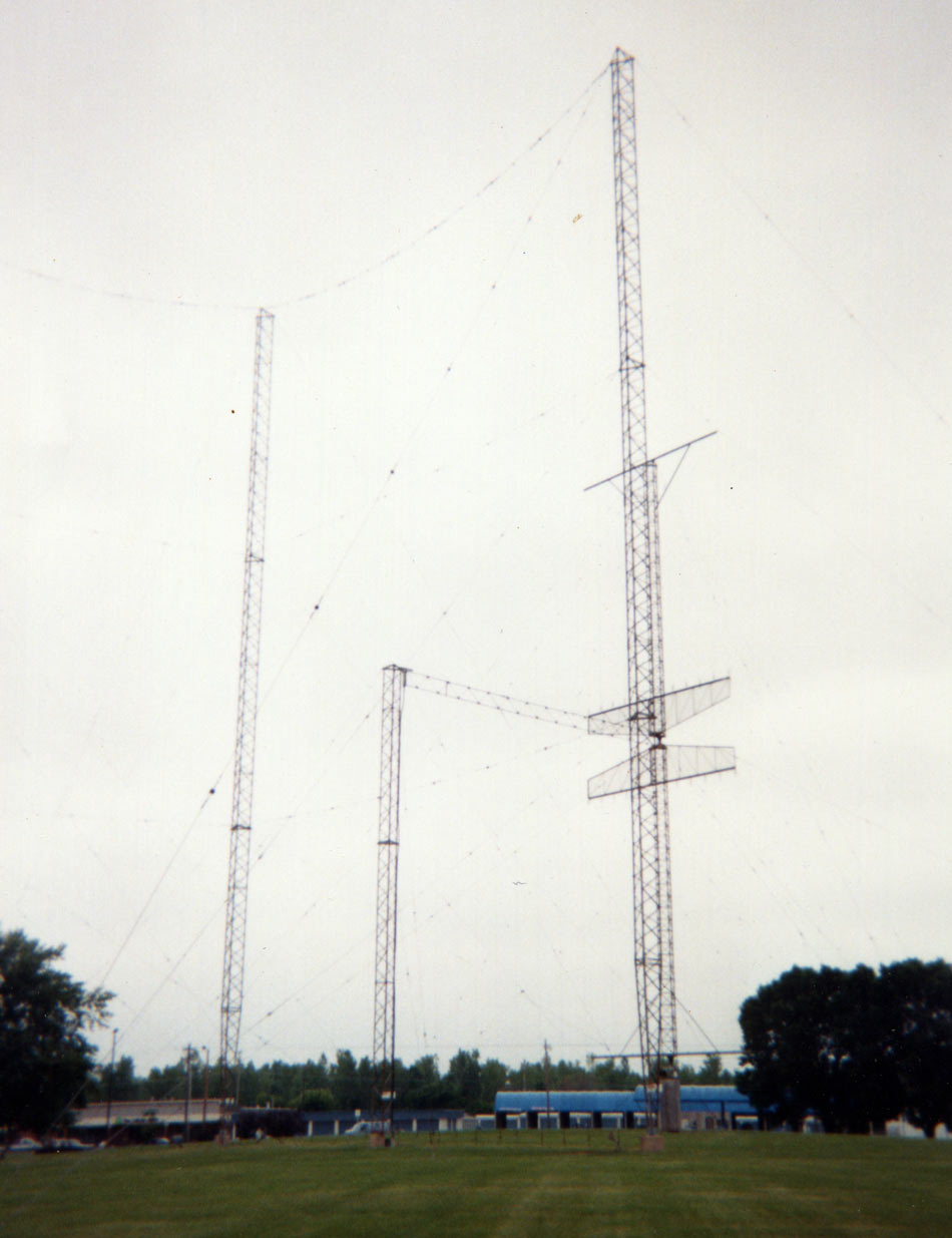 Small curtain array between two tallest towers Collins Radio