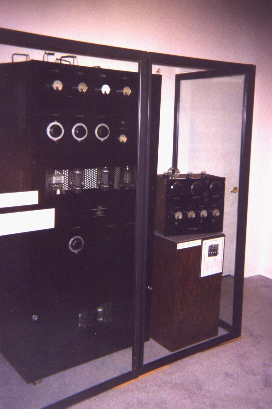 Old Collins radio transmitters on display