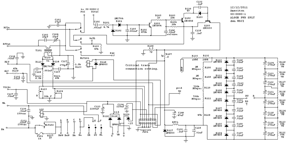 AL80B, AL572, AL800 power supply board schematic