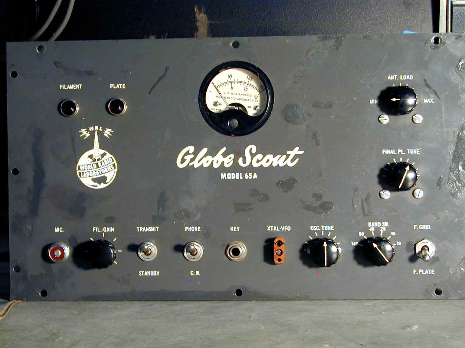 Globe Scout 65A rough original front panel