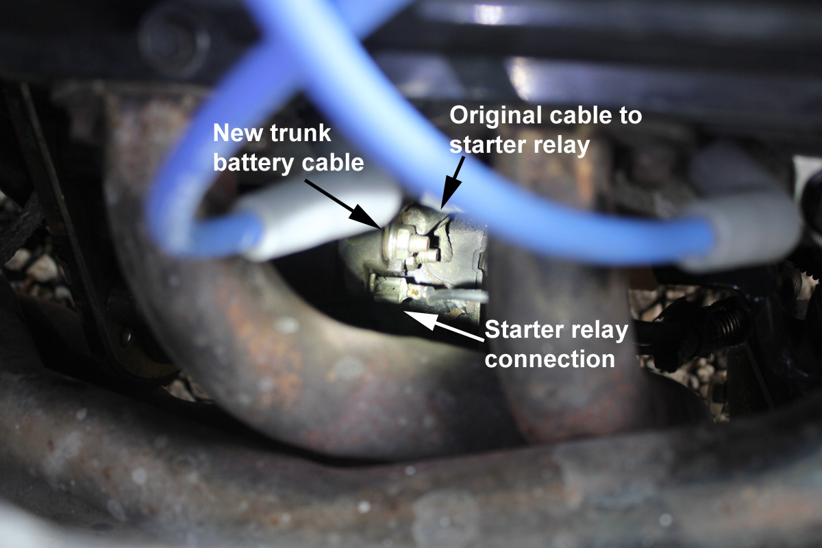 Starter connections trunk mount battery