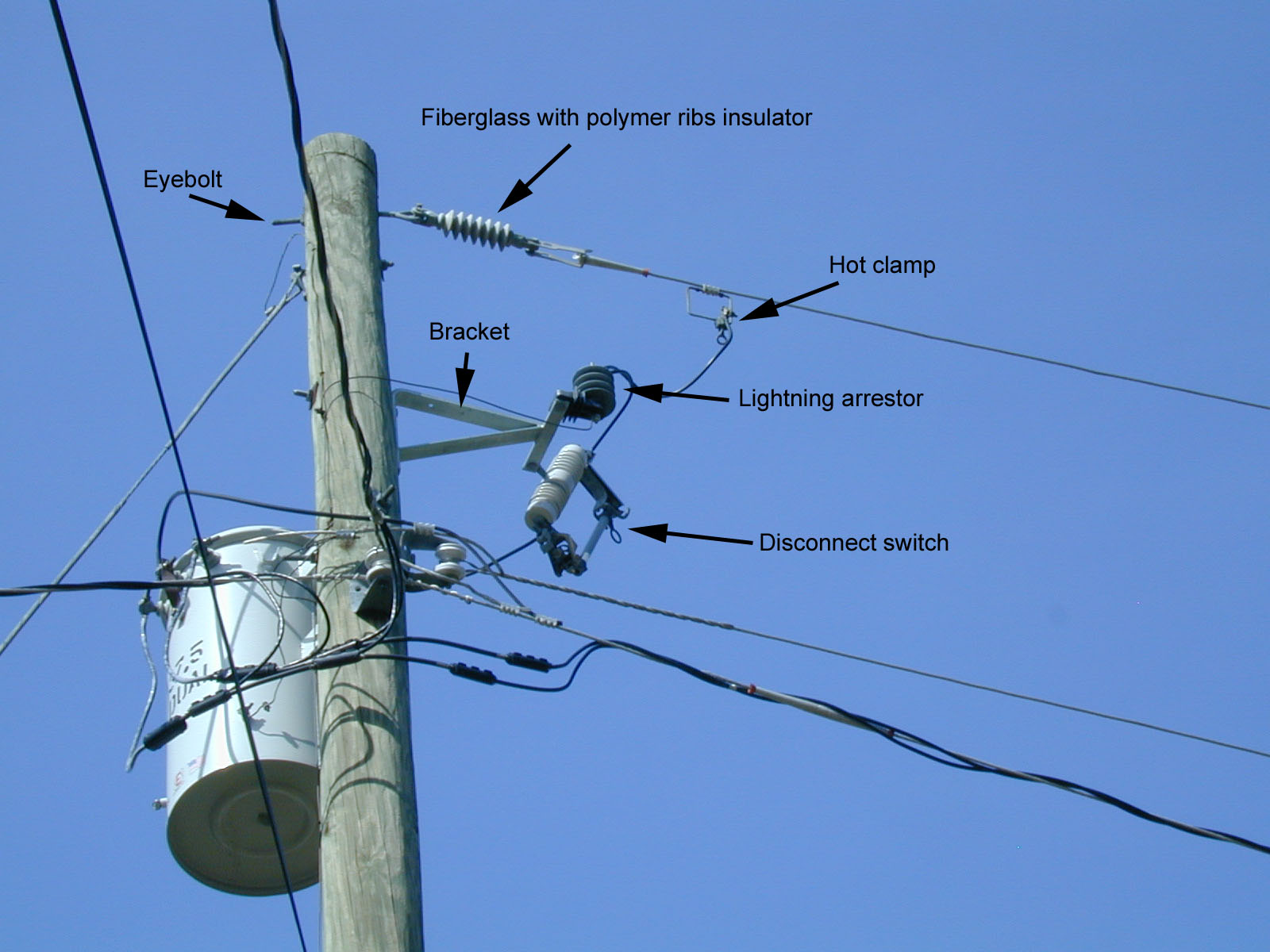 Power pole noise hardware