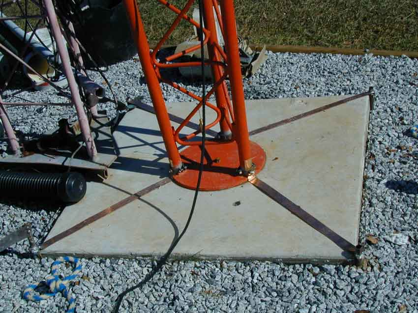 Tower base grounding