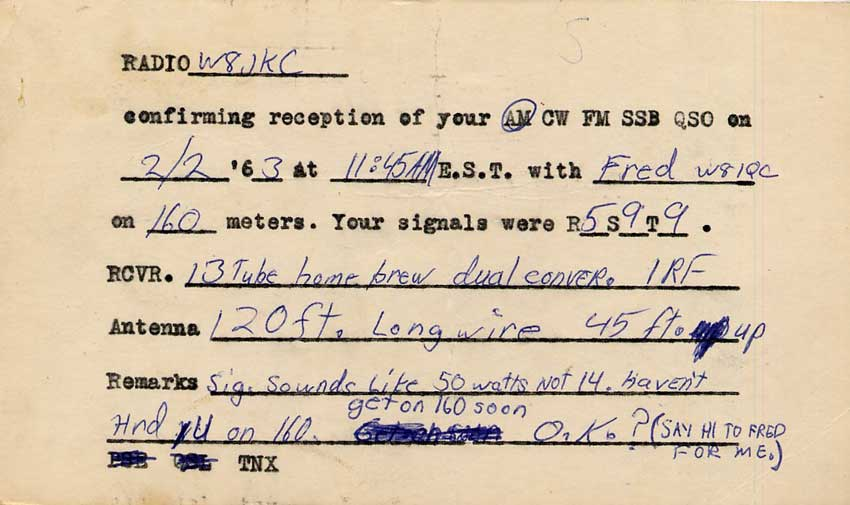 History of 160 Meters including W1BB Stew Perry letters